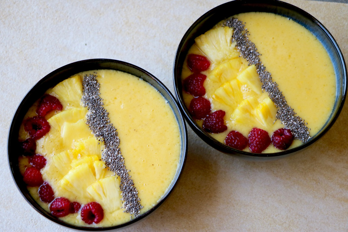 Raspberry Pineapple Mango Smoothie Bowl